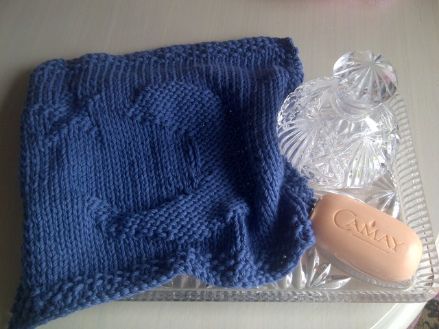 100% Cotton Wash Cloth or Dish Cloth - Mid Blue with Moon and Star - Knitted in Scotland