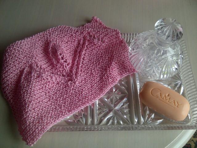 Pink Cotton Tulip Design Wash/Dish Cloth - Hand Knitted in Scotland