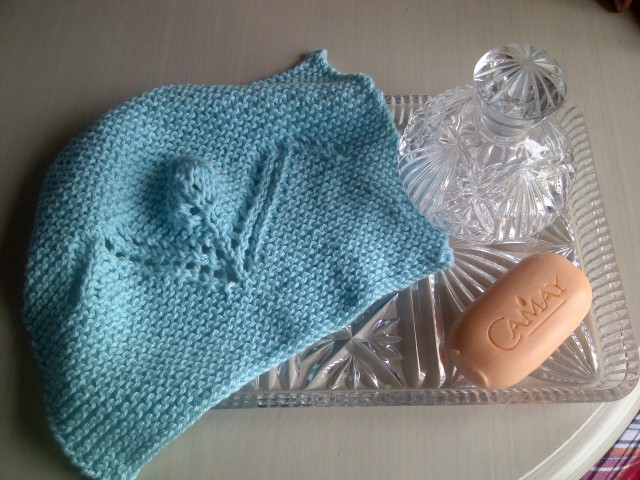 Extremely Soft cotton Aqua Washcloth - Kind to skin - Hand Knitted in Scotland