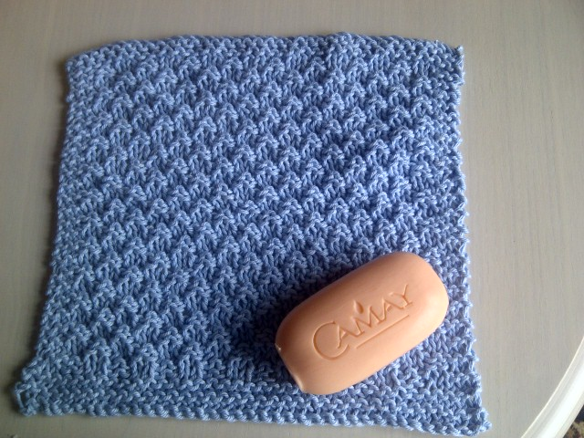 Blue Cotton Wash/Dish Cloth - Excellent for Exfoliation - Hand Knitted in Scotland