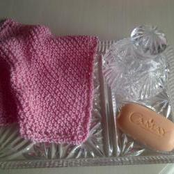 Pink Cotton Wash/Dish Cloth - Exfoliating Cloth - Hand Knitted in Scotland