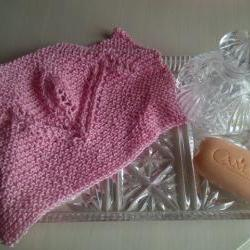 Pink Cotton Tulip Design Wash/Dish Cloth - Hand Knitted in Scotland